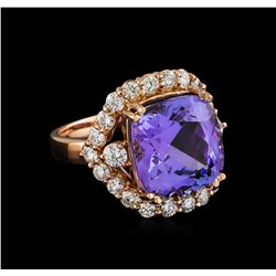 10.21 ctw Tanzanite and Diamond Ring - 14KT Rose Gold