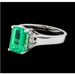 2.17 ctw Emerald and Diamond Ring - 14KT White Gold