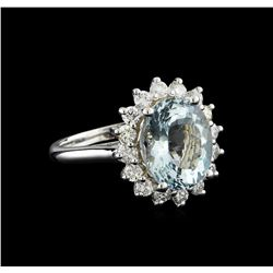 4.15 ctw Aquamarine and Diamond Ring - 14KT White Gold