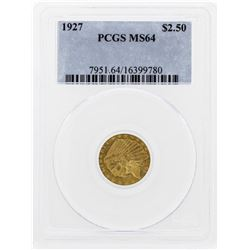 1927 $2 1/2 Indian Head Quarter Eagle Gold Coin PCGS MS64