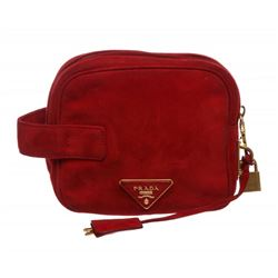Prada Red Suede Button Clutch Pouch