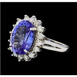 6.33 ctw Tanzanite and Diamond Ring - 14KT White Gold