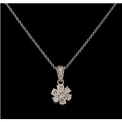 0.66 ctw Diamond Pendant With Chain - 18KT White Gold