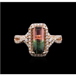 2.04 ctw Bi-Color Tourmaline and Diamond Ring - 14KT Rose Gold