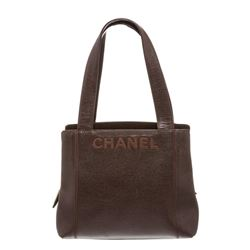 Chanel Brown Textured  Leather Double Handle Shoulder Bag