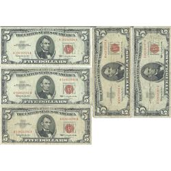1963 $5 Red Seal Bill Lot of 10