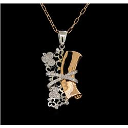 14KT Two-Tone Gold 1.45 ctw Diamond Pendant With Chain