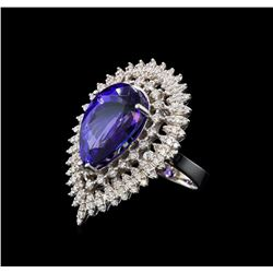 14.71 ctw Tanzanite and Diamond Ring - 14KT White Gold