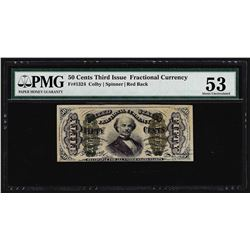 March 3, 1863 Fifty Cents Third Issue Fractional Note PMG About Uncirculated 53