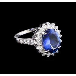 3.40 ctw Tanzanite and Diamond Ring - 14KT White Gold