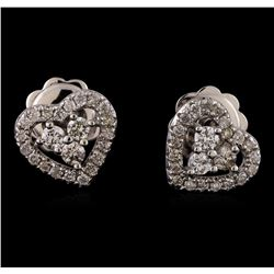 0.40 ctw Diamond Earrings - 14KT White Gold