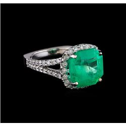 6.60 ctw Emerald and Diamond Ring - 14KT White Gold