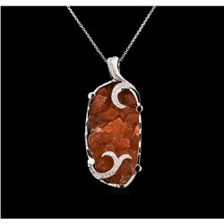 18.00 ctw Citrine and Diamond Pendant With Chain - 14KT White Gold