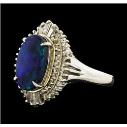 2.20 ctw Black Opal and Diamond Ring - Platinum