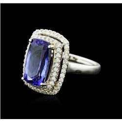 14KT Two-Tone Gold 8.08 ctw Tanzanite and Diamond Ring