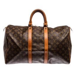 Louis Vuitton Monogram Canvas Leather Keepall 45 cm Duffle Bag Luggage
