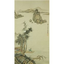 Huang Jun 1775-1850 Watercolour on Paper Scroll