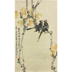 Zhao Shaoang 1905-1998 Chinese Watercolour on Scro