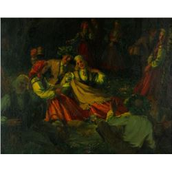 19th C. Russian Figures Oil on Canvas w/ Frame