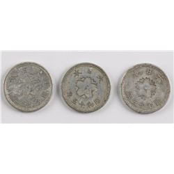 3 PC 1940 Japan 10 Sen Aluminum Coin Y-61