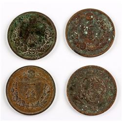 4 PC 1874-1886 Japan 1 Sen Copper Coin Y-17
