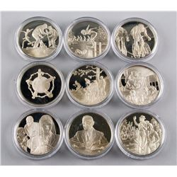 Nine 1974 Commemorative Sterling Silver Coins