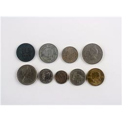 Nine Assorted World Coins