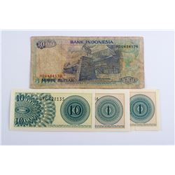 Four Assorted Indonesia Banknote of 1, 10 and 1000
