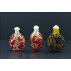 3 Pieces Chinese Peking Glazed Snuff Bottles