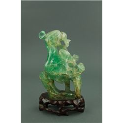 18/19th C. Chinese Green Tourmaline Stone Figure