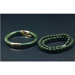 2 Pc BC Jade Necklace And Bangle