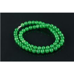 Chinese Green Jade Carved Necklace