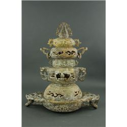 Chinese Archaistic Jade Carved Tiered Tower Censer