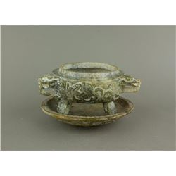 Old Archaic Green Jade Carved Censer With Stand