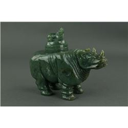 Chinese Green Jade Carved Rhino Vase with Cover