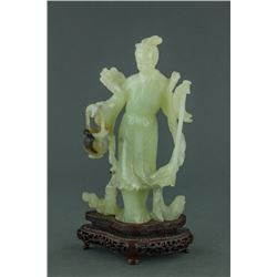 Chinese Green Jade Carved Figure with Stand