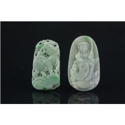 2 Pc Chinese Green Jade Qilin & Guanyin Pendants