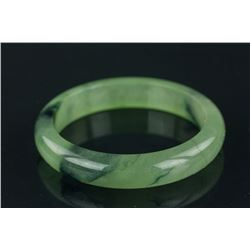 Chinese Mottled Green Jadeite Bangle