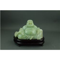Qing Period Fine Green Jadeite Laughing Buddha