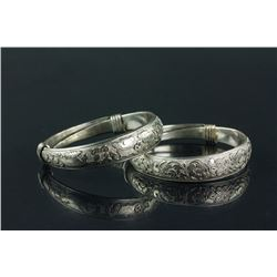 Pair of Chinese Silver Bracelets with Zuyin Mark