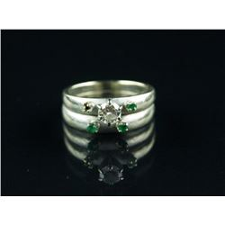 Stamped 14K White Gold Diamond Ring