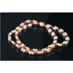 Chinese Pearl and Red Coral Necklace