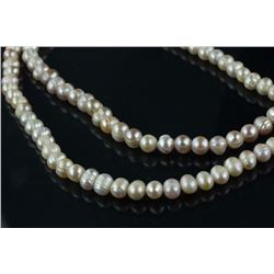 Pair of Chinese White Pearl Necklaces