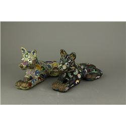 Pair 17/18th Century Gilt Cloisonne Bronze Figures