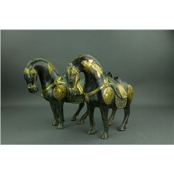 Pair of Chinese Bronze Horses