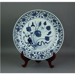 Ming/Qing Period Chinese BW Porcelain Charger