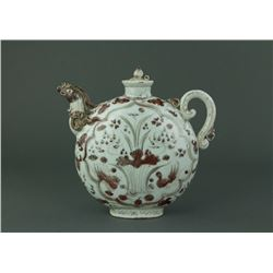 Yuan/Ming Period Rare Copper Red Porcelain Ewer