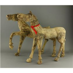 Pair of Chinese Han Dynasty Wooden Horses