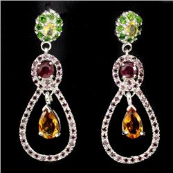 Natural Citrine Chrome Diopside  Ruby Sapphire Earrings