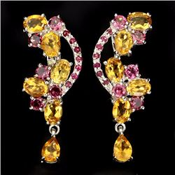Natural Yellow Citrine Rhodolite Garnet Ruby Earrings